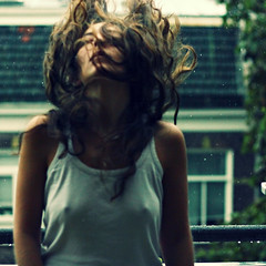 like a dog in the rain (monyart) Tags: light shadow woman selfportrait me colors girl beautiful rain amsterdam contrast dark hair myself crossprocess lips io girlpower monyart