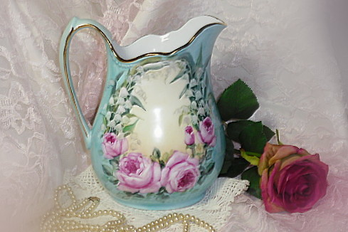Cottage Romantic Shabby Vintage Chic Porcelain Pitcher with Pink Roses