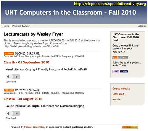 UNT Computers in the Classroom - Fall 2010 (Audio Lecturecast Channel)
