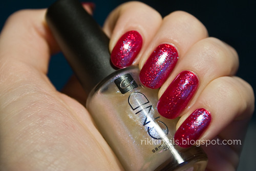 China Glaze Ruby Pumps and CND Sapphire Sparkle