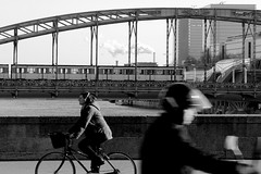 opposite directions (Bernard l Hermite) Tags: bridge paris de metro cycle bercy quai