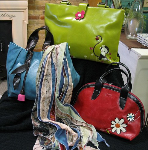 Purses, wallets, and recycled silk scarves.