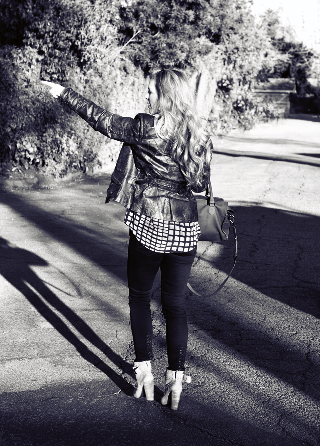 black and white photo, photography, outfit post, fashion, fashion blogs, home blogs, Los Angeles blogs, LA blogs, vintage leather jacket, cropped jeans, J Brand jeans, black denim, ankle boots, butt, DVF bag, DSC_0026