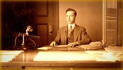 My Grandfather circa 30's (steviep187) Tags: photos color black white vintage old grandfather posing desk work business telephone sepia accountant 1930s 1900s