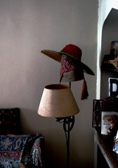 Hats on a Lamp (photo_secessionist) Tags: light film analog corner 35mm kodak room hats rangefinder ukraine soviet vintagecamera fed rf ussr theworld leicacopy gold400 fed1g autaut   industar10f3550mmlens