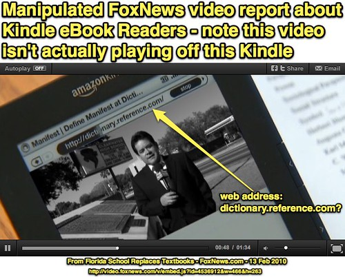 Manipulated FoxNews video report about the Amazon Kindle