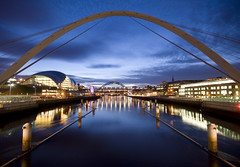 Between Newcastle and Gateshead at dusk (Semi-detached) Tags: bridge reflection night newcastle evening still nikon long exposure angle centre wide sigma baltic sage tyne millennium gateshead 1020 tyneside quayside d300
