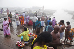 Early morning (Dick Verton) Tags: travel people india misty boats varanasi ganges pilgrims dickverton