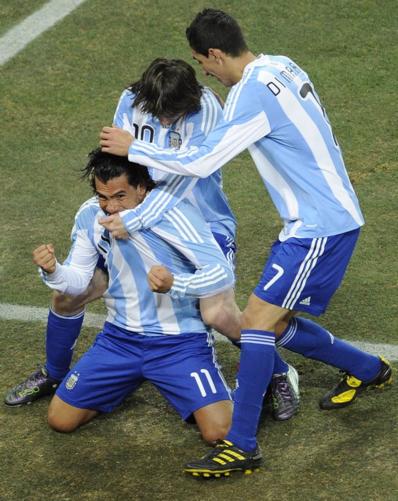 Mundial Sudáfrica Carlos Tévez, Lionel Messi y Angel Di Maria