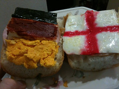 World Cup Brotzeit Germany - England (SandoCap) Tags: england germany bread lunch flag egg ham baguette  worldcup camembert nori  foodcolouring     brotzeit  tomatopaste