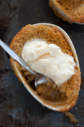 ginger self saucing pudding with vanilla icecream