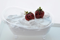 Typical: Strawberries and Cream (Iaia***) Tags: food macro cute kitchen cool nikon funny cream strawberries cibo cucina divertente panna fragole d90