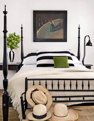 black and white bedroom+stripes+green