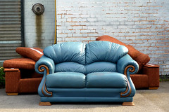 (Delay Tactics) Tags: blue brown sofa settee wall bricks sheffield furniture seats abandoned leather eyes explore kelham island warehouse paul frank couch