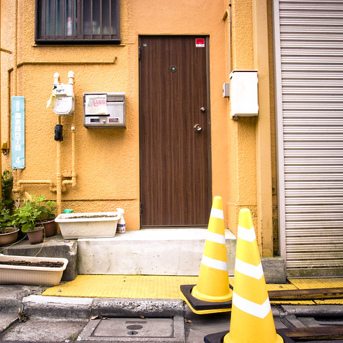 Brown Door, Yellow Cones