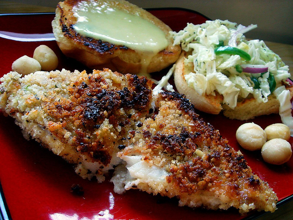 Macadamia-Lime Crusted Ocean Perch
