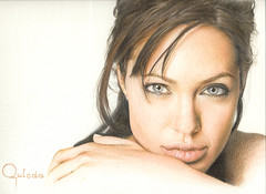 Angelina Jolie (Outeda) Tags: portrait color art beauty pencil painting movie star drawing retrato explore actress actor angelina jolie dibujo pintura lpiz hiperrealismo hyperrealism explored polychromos