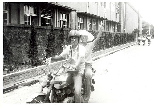 mom on scooter in China as a missionary