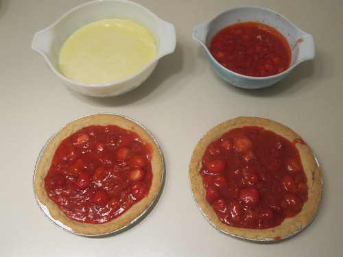 Baking 2 strawberry pies and making bases for ice cream