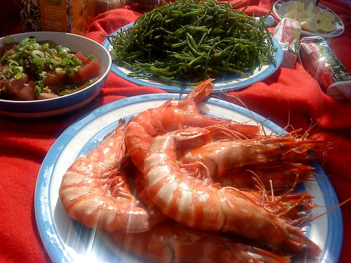 Giant Prawns, Tuna Sashimi and Samphire by Fernandez and Leluu
