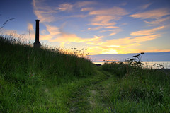 summers evening at the candlestick (Steve Brannon...) Tags: uk sunset summer chimney sky green history grass evening nikon mine path pit historic filter cumbria whitehaven hdr candlestick graduated d60 cokin photomatix