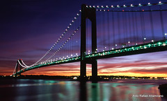 Verrazano bridge (Rafakoy) Tags: city longexposure bridge light sunset sky cloud ny newyork color colour reflection film water colors night clouds 35mm reflections river dark 50mm lights photo nikon colours fuji dusk slide f100 velvia late hudson positive e6 nite 100f verrazano fujichromevelvia100f realphotography epsonv600 epsonperfectionv600photo epsonperfectionv600 nikkonaf2880mmf3356g aldorafaelaltamirano rafaelaltamirano aldoraltamirano