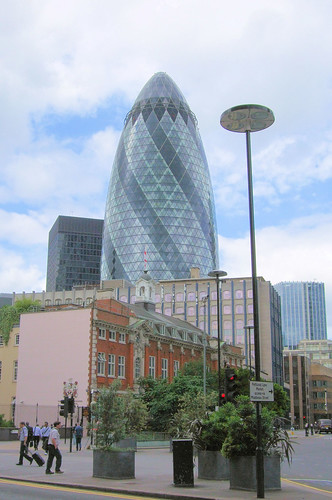 The London Gherkin Seen From Aldgate - East London.