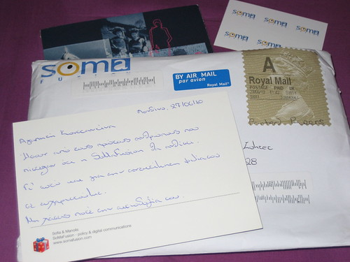 Hand written postcard and book from my friends