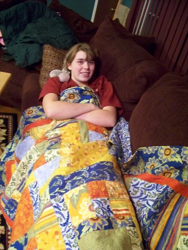 CJ and her quilt