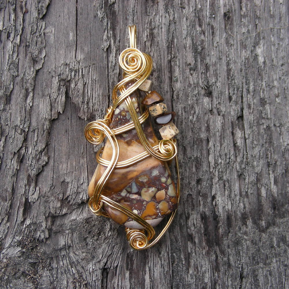 MOUNTAIN GATHERING ~Brown Tennessee Conglomerate Gold Wire Wrapped Pendant Necklace.