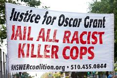 Justice for Oscar Grant, Jail All Racist Killer Cops, Oakland Riots, 2010 (Thomas Hawk) Tags: california usa america oakland riot unitedstates unitedstatesofamerica protest eastbay riots oscargrant oaklandriots oaklandlocal johannesmersehle oaklandca070810 oaklandriots2010