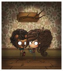 aun sin nombre (Anita Mejia) Tags: bear wood wallpaper green bird girl wall illustration dead mask room inks chocolatita anitamejia entrevistailustracion