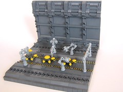Overview (Legoloverman) Tags: wall grey robot construction factory lego turtle space line scifi assembly manufacture