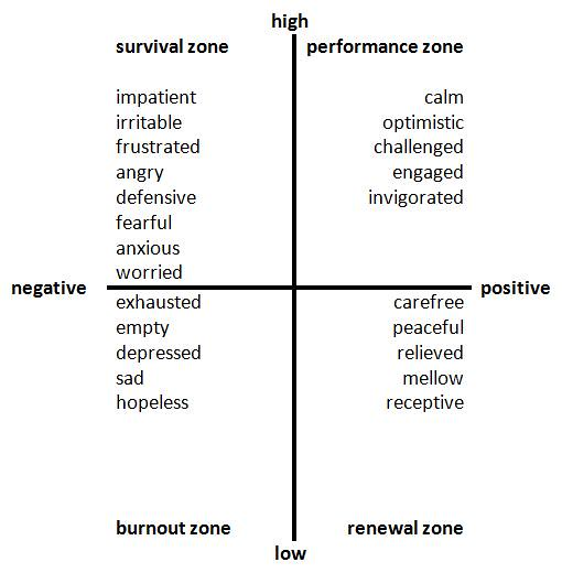survivial zone, performance zone, burnout zone, renewal zone