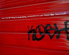 Garage Door Advice (Sally E J Hunter) Tags: red toronto alley alleyway advice graffti garagedoor moo1 topwli topwkm