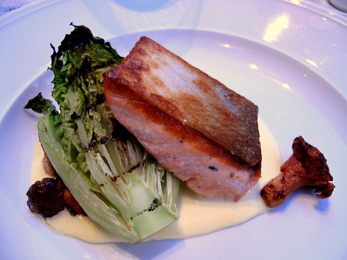 Salmon with Grilled Romaine, Chanterelles and Lemon Cream at DOC