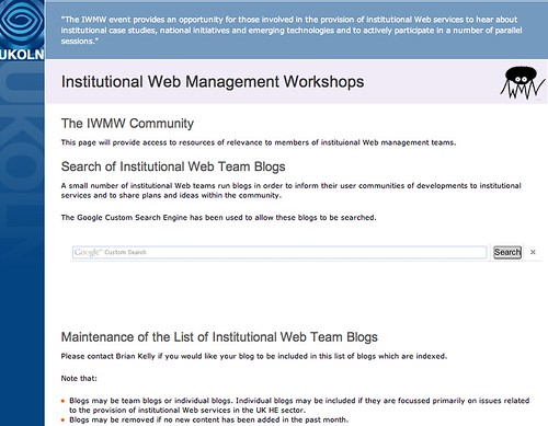 Institutional Web Managemet blogs search engine