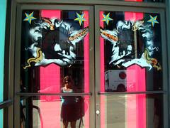 DSC01248 (rupeegroupie) Tags: retail store display summertime storewindow unicorn capitolhill windowpainting dogdayafternoon seeninstorewindows