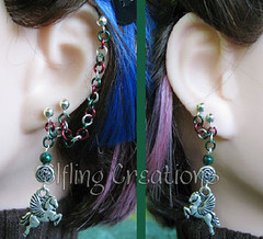 Pair of cartilage chain earrings- Realm of the Horse Lords
