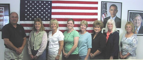 (l to r)  Mark McConnell, Jerrilyn Miller, Christie Vilsack, Angela Christian, Kathy Schneider, Rebecca Marcum, Cheryl Nickolisen and Kay Kluver.