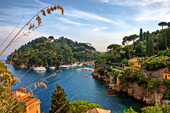 Unusual Portofino (klausthebest) Tags: blue light sea sky italy cloud seascape colour green italia liguria portofino promontory paraggi deepbluesea dragondaggerphoto mygearandmepremium mygearandmebronze mygearandmesilver
