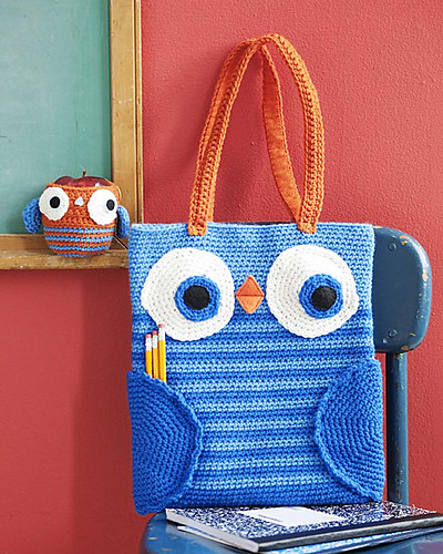 Owl book bag & Apple cozy