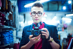 On Looking Like Gok Wan (TGKW) Tags: camera boy portrait people man reflection shop self glasses mirror store nikon photographer glasgow watch clothes american headphones spectacles earphones apparel koss 5209