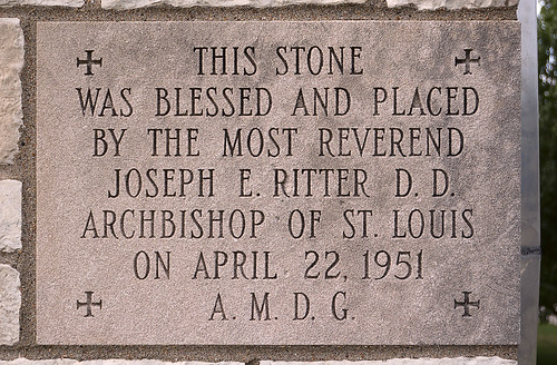 Saint Martin of Tours Roman Catholic Church, in Lemay, Missouri, USA - cornerstone