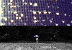 Out of the rain (nicholas dupont) Tags: blue boy field grass rain umbrella lights woods nikon bokeh screen barefoot 365 day50 selectivecolor twopictures itwasrainingearlier