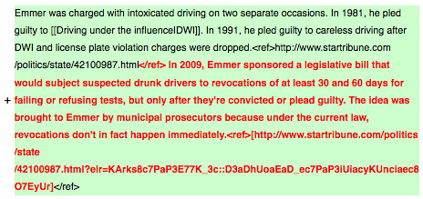 Additions to Tom Emmer's DWI Info on Wikipedia
