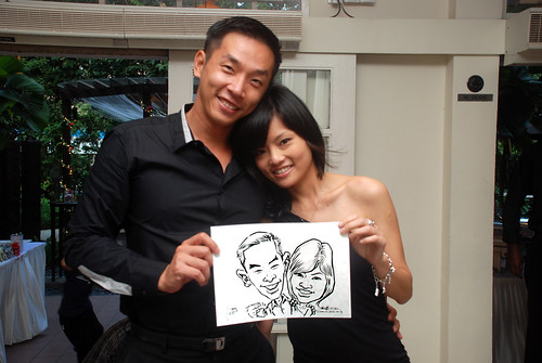 caricature live sketching for David & Christine wedding dinner - 3