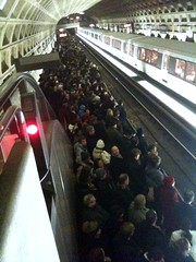 a jam-packed platform at Metro's Gallery Place station (by: John Dellaporta via twitpic)