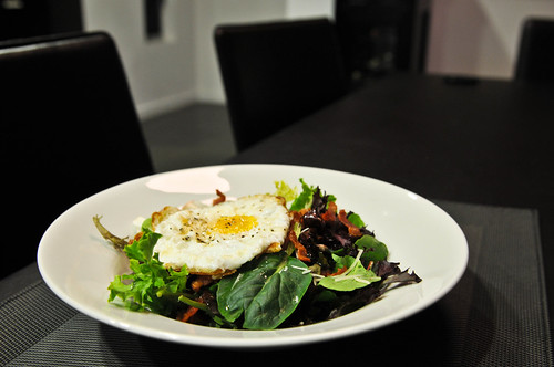 Fried Egg and Bacon over Fresh Herb Salad