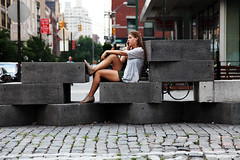 Chelsea Girl (jamie nyc) Tags: nyc newyorkcity geometric geometry cobblestones meatpackingdistrict chelseagirl beautifullegs smoothskin beautifulskin stoneblocks graniteblocks totallyoblivious smoothlegs photobyjimkiernan duchampsbikewheel hotgirlswithnicelegs